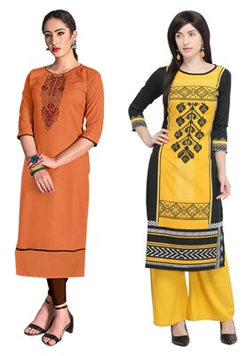 Mirraw Classiques Embroidered Orange And Black Printed Cotton Stitched Kurti ( Pack of 2 )