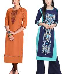 Mirraw Classiques Embroidered Orange And Blue Printed Crepe Cotton Stitched Kurti ( Pack of 2 )
