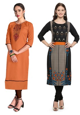 Mirraw Classiques Embroidered Orange And Black Printed Crepe Cotton Stitched Kurti ( Pack of 2 )