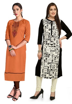 Mirraw Classiques Embroidered Orange And Black-White Printed Crepe Cotton Stitched Kurti ( Pack of 2 )