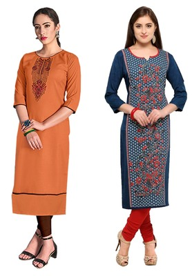 Mirraw Classiques Embroidered Orange And Blue-Red Printed Crepe Cotton Stitched Kurti ( Pack of 2 )