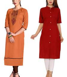 Mirraw Classiques Embroidered Orange And Red Plain Cotton Stitched Kurti ( Pack of 2 )