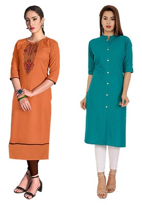 Mirraw Classiques Embroidered Orange And Turquoise Plain Cotton Stitched Kurti ( Pack of 2 )