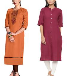 Mirraw Classiques Embroidered Orange And Pink Plain Cotton Stitched Kurti ( Pack of 2 )