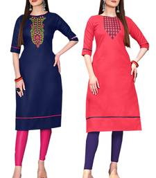 Mirraw Classiques Embroidered Blue And Pink Cotton Stitched Kurti ( Pack of 2 )