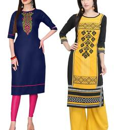 Mirraw Classiques Embroidered Blue And Printed Black Cotton Stitched Kurti ( Pack of 2 )