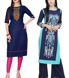 Mirraw Classiques Embroidered Blue And Printed Blue Crepe Cotton Stitched Kurti ( Pack of 2 )