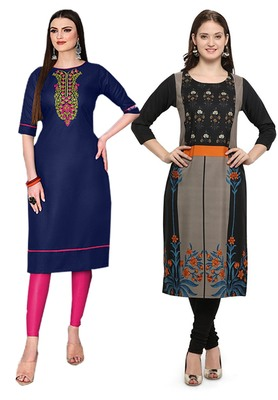 Mirraw Classiques Embroidered Blue And Printed Black Crepe Cotton Stitched Kurti ( Pack of 2 )