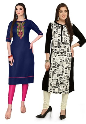 Mirraw Classiques Embroidered Blue And Printed Black-White Crepe Cotton Stitched Kurti ( Pack of 2 )