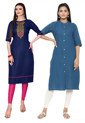 Mirraw Classiques Embroidered Blue And Plain Blue Cotton Stitched Kurti ( Pack of 2 )