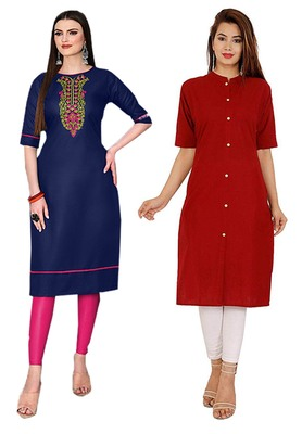Mirraw Classiques Embroidered Blue And Plain Red Cotton Stitched Kurti ( Pack of 2 )