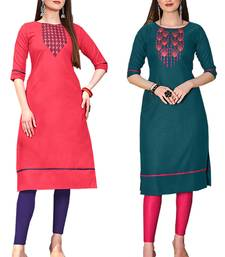 Mirraw Classiques Embroidered Pink And Green Embroidered Cotton Stitched Kurti ( Pack of 2 )