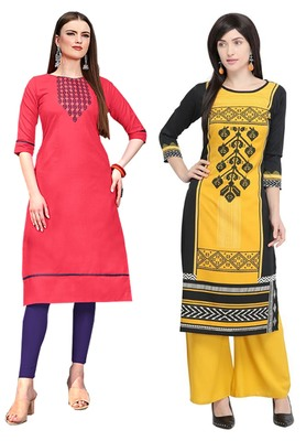 Mirraw Classiques Embroidered Pink And Black Printed Cotton Stitched Kurti ( Pack of 2 )