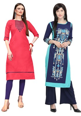 Mirraw Classiques Embroidered Pink And Printed Blue Crepe Cotton Stitched Kurti ( Pack of 2 )