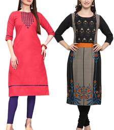 Mirraw Classiques Embroidered Pink And Black Printed Crepe Cotton Stitched Kurti ( Pack of 2 )