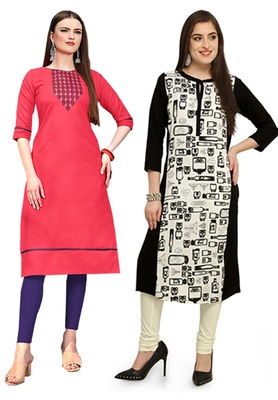 Mirraw Classiques Embroidered Pink And Black-White Printed Crepe Cotton Stitched Kurti ( Pack of 2 )