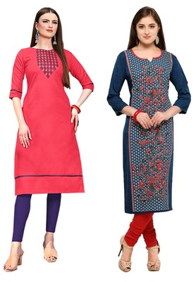 Mirraw Classiques Embroidered Pink And Blue-Red Printed Crepe Cotton Stitched Kurti ( Pack of 2 )