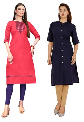 Mirraw Classiques Embroidered Pink And Navy Blue Plain Cotton Stitched Kurti ( Pack of 2 )