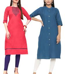 Mirraw Classiques Embroidered Pink And Blue Plain Cotton Stitched Kurti ( Pack of 2 )
