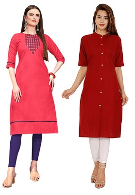 Mirraw Classiques Embroidered Pink And Plain Red Cotton Stitched Kurti ( Pack of 2 )