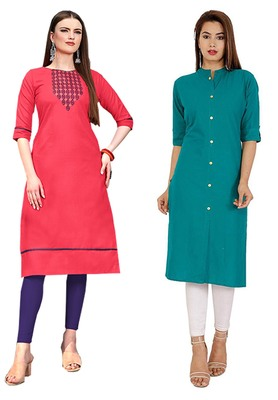 Mirraw Classiques Embroidered Pink And Plain Turquoise Cotton Stitched Kurti ( Pack of 2 )