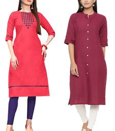 Mirraw Classiques Embroidered Pink And Plain Pink Cotton Stitched Kurti ( Pack of 2 )
