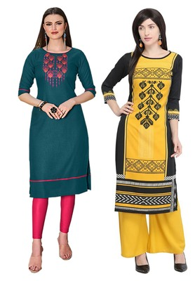 Mirraw Classiques Embroidered Green Regular And Black Printed Regular Cotton Stitched Kurti ( Pack of 2 )