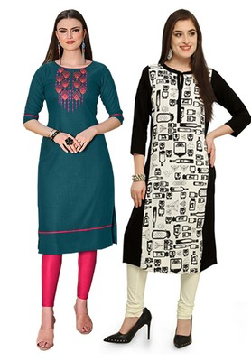 Mirraw Classiques Embroidered Green Regular And Black-White Printed Crepe Stitched Cotton Kurtis ( Pack of 2 )