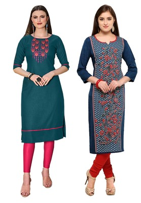 Mirraw Classiques Embroidered Green Regular And Blue-Red Printed Crepe Stitched Cotton Kurtis ( Pack of 2 )