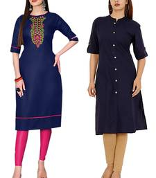 Mirraw Classiques Embroidered Blue And Navy Blue Plain Regular Stitched Cotton Kurtis ( Pack of 2 )