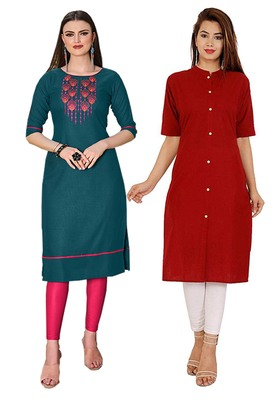 Mirraw Classiques Embroidered Green And Plain Red Regular Cotton Stitched Kurtis ( Pack of 2 )