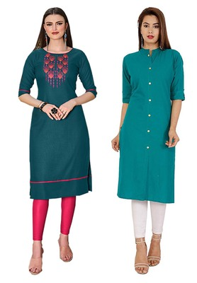 Mirraw Classiques Embroidered Green And Plain Turquoise Regular Cotton Stitched Kurtis ( Pack of 2 )