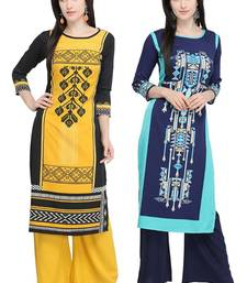 Mirraw Classiques Printed Black Regular And Printed Blue Crepe Cotton Stitched Kurti ( Pack of 2 )