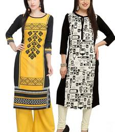 Mirraw Classiques Printed Black Regular And Black-White Printed Crepe Cotton Stitched Kurtis ( Pack of 2 )