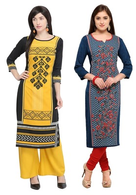 Mirraw Classiques Printed Black Regular And Blue-Red Printed Crepe Cotton Stitched Kurtis ( Pack of 2 )