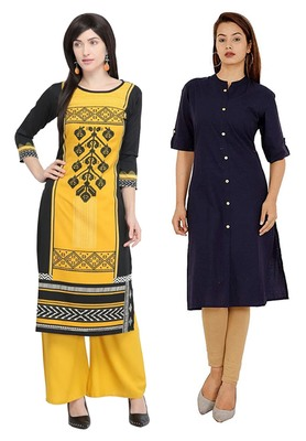 Mirraw Classiques Black Printed And Navy Blue Plain Cotton Stitched Kurti ( Pack of 2 )