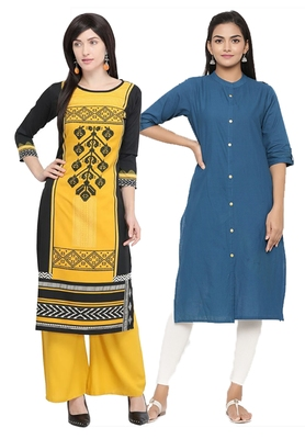 Mirraw Classiques Printed Black And Plain Red Cotton Stitched Kurti ( Pack of 2 )