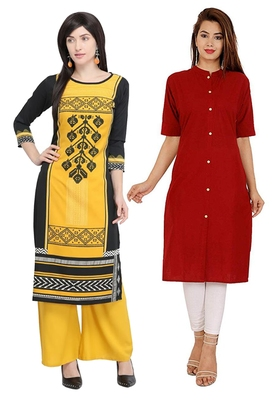 Mirraw Classiques Printed Black And Plain Turquoise Cotton Stitched Kurti ( Pack of 2 )