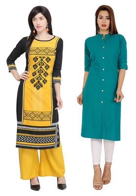 Mirraw Classiques Printed Blue And Black Cotton Crepe Stitched Kurti ( Pack of 2 )