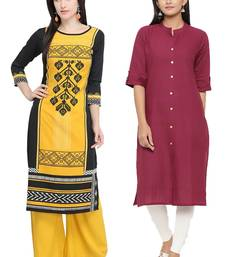 Mirraw Classiques Printed Blue And Black White Crepe Cotton Stitched Kurti ( Pack of 2 )