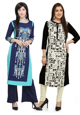 Mirraw Classiques Printed Blue and Plain Navy Blue Cotton Stitched Kurti ( Pack of 2 )