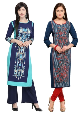 Mirraw Classiques Printed Blue And Plain Red Cotton Stitched Kurtis ( Pack of 2 )