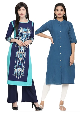 Mirraw Classiques Navy Blue & Black Printed Crepe Cotton Stitched Kurti ( Pack of 2 )
