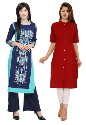 Mirraw Classiques Navy Blue And Black White Printed Crepe Cotton Stitched Kurtis ( Pack of 2 )