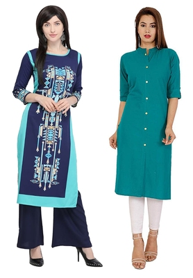 Mirraw Classiques Printed Blue Crepe And Blue Red Printed Crepe Stitched Kurtis ( Pack of 2 )