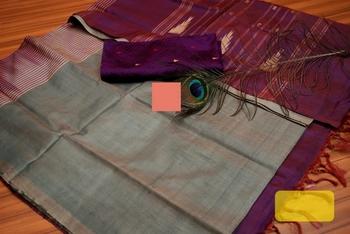 Grey And Maroon Colored Vaalai Silk Saree With Blouse