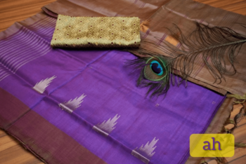 Purple And Brown Colored Vaalai Silk Saree With Blouse
