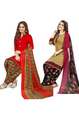 Mirraw Classique Red and Beige Crepe Printed Salwar Suits Unstitched Dress material with Dupatta Design 1 - Pack of 2