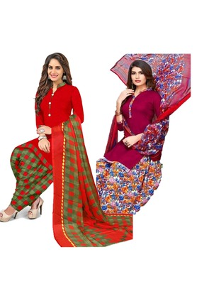 Mirraw Classique Red and Pink Crepe Printed Salwar Suits Unstitched Dress Material Design 2 - Pack of 2