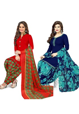 Mirraw Classique Red and Navy Blue Crepe Printed Salwar Suits Unstitched Dress Material - Pack of 2